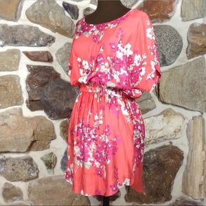 CORAL PINK FLORAL PRINT SHORT DRESS WITH POCKETS